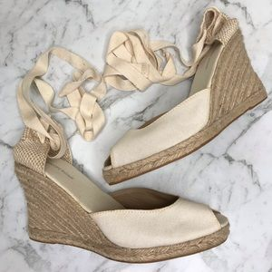 Country Road Cream Beige Wedges Espadrilles Shoes